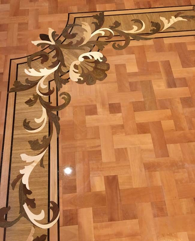 Picture Of Wood Floor Border Corner With Pear Basket Weave Parquet
