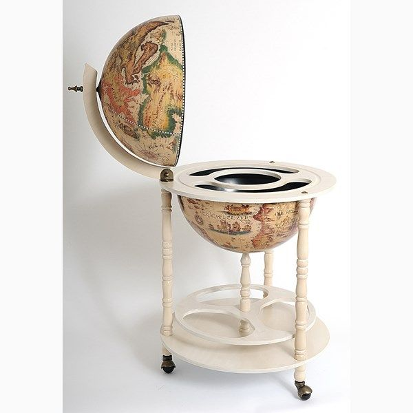 "Old Modern Handicrafts NG002 17-3/4"" Globe Drink Cabinet in White"