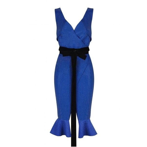 Juan Carlos Pajares Knitted Dress With Plastic Coating (£315) ❤ liked on Polyvore featuring dresses, blue, blue evening dresses, blue cocktail dress, plastic dress, special occasion dresses and blue wrap dress