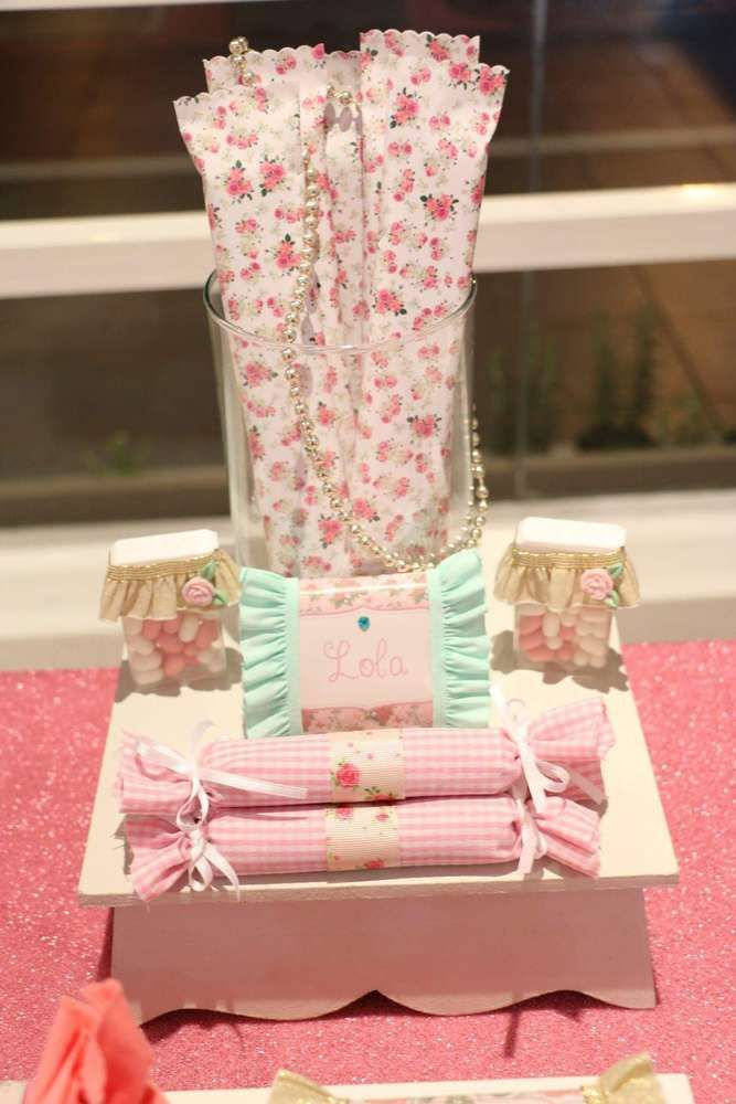 Shabby chic birthday party favors! See more party planning ideas at CatchMyParty.com!