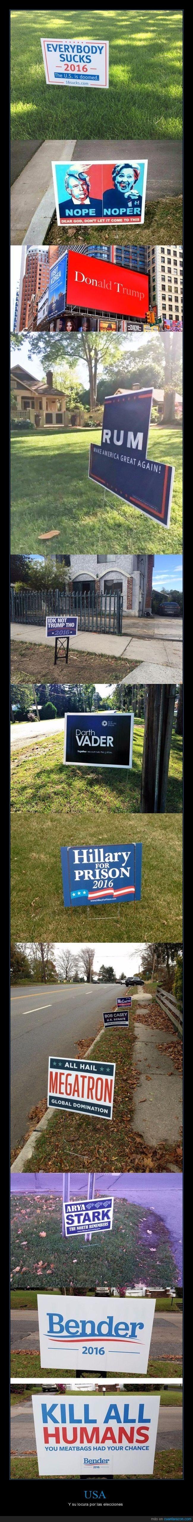 Los carteles más desternillantes de las elecciones en USA - Y su locura por las elecciones   Gracias a http://www.cuantarazon.com/   Si quieres leer la noticia completa visita: http://www.estoy-aburrido.com/los-carteles-mas-desternillantes-de-las-elecciones-en-usa-y-su-locura-por-las-elecciones/