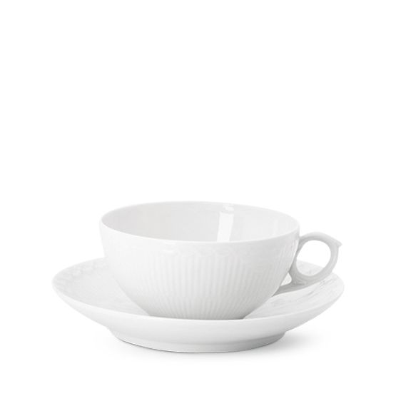 Royal Copenhagen White Fluted Half Lace Cup & Saucer 20 cl, Tea