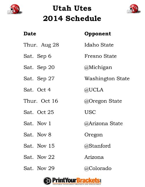 Printable Utah Utes Football Schedule 2014