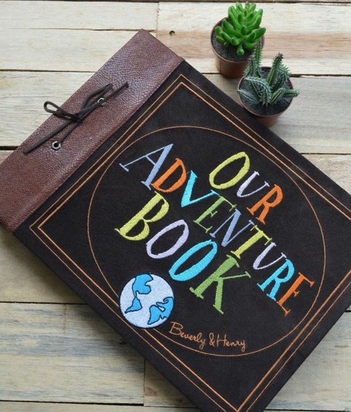 what to get your best friend for her birthday, large journal with brown leather covers, bound with a leather rope, decorated with colorful writing and small globe drawing