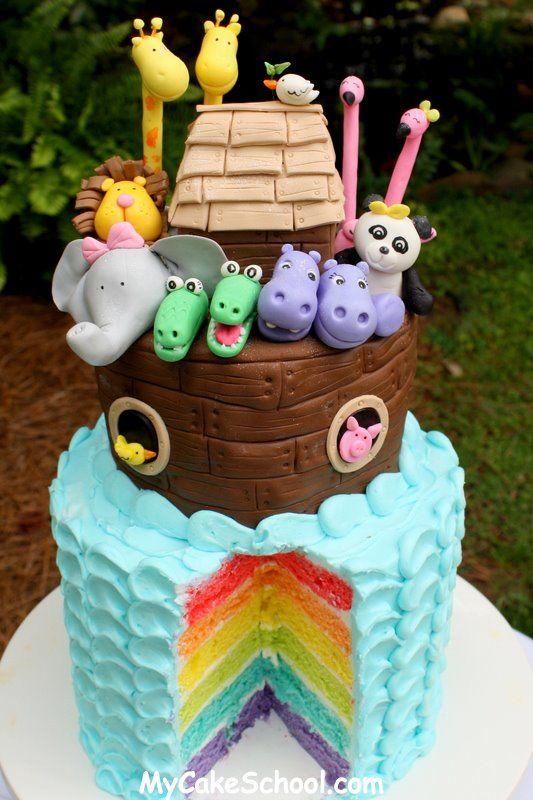 Cutest Noah's Ark cake ever? Why, yes, I believe it is!! Great for baby shower or first birthday. Full video tutorial on making this cake at www.MyCakeSchool.com.