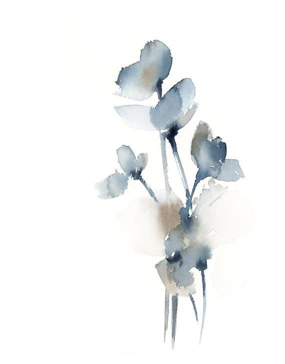 Blue Grey Flowers Fine Art Print Abstract Botanical Watercolor