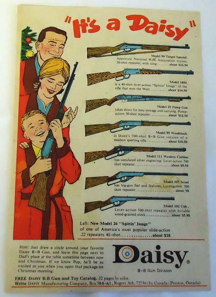 1965 it 39 s a daisy christmas bb gun ad page vintage ads sports pinterest guns christmas. Black Bedroom Furniture Sets. Home Design Ideas