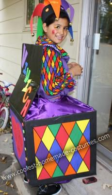 """Homemade Jack in the Box Costume: This Homemade Jack in the Box Costume started as an """"easy"""" box costume, it turned into a big project.   Several years earlier I made a super cute clown"""