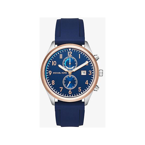 Michael Kors Michael Kors Saunder Rose Gold-Tone And Silicone Watch (4,965 THB) ❤ liked on Polyvore featuring men's fashion, men's jewelry, men's watches, silver, michael kors mens watches, mens chronograph watches, blue dial mens watches and mens silicone watches