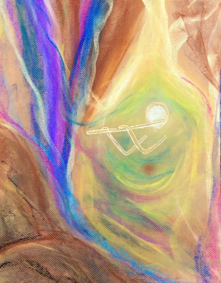Intuïtief schilderij 'Fluitist' gemaakt door Els juli 2014 verbeelding van wat het fluitspelen voor mij heeft betekend.