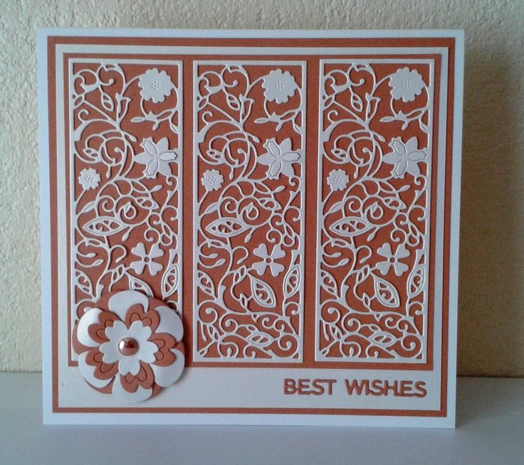 "Made by Claire Basinger - ""Tattered Lace Floral Panel which came with Tattered Lace magazine vol 8, cut 3 times in pearlescent cream card and each fixed to orange card. I then added cream and orange layers, a poppy and floral die set cut in cream and orange, then a bronze brad used to secure the flower layers. Best Wishes was from a mini die set cut in orange, all fixed on a 17cm x 18cm cream card blank."" #tatteredlace #cardmaking"