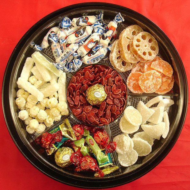 TEN GOOD LUCK FOODS FOR CHINESE NEW YEAR - 3. The Tray of Togetherness. Put out for snacking, or give as a gift, 8 (symbolic lucky number)  compartments filled with things ;ucky foods like kumquats for prosperity, coconut for togetherness, longans to bring many sons, and red melon seeds for happiness.