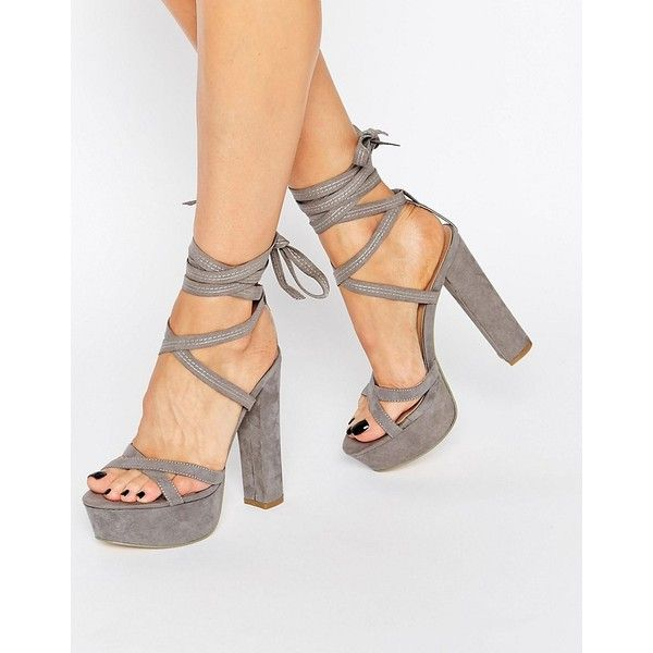 Truffle Tie Up Block Heel Sandal (660 ZAR) ❤ liked on Polyvore featuring shoes, sandals, grey, grey shoes, high heel shoes, block-heel sandals, gray sandals and ankle strap sandals