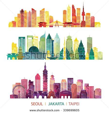 skyline detailed silhouette set (Seoul, Jakarta, Taipei). Vector illustration