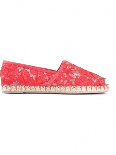 Espadrillas rivestite in pizzo rosso corallo