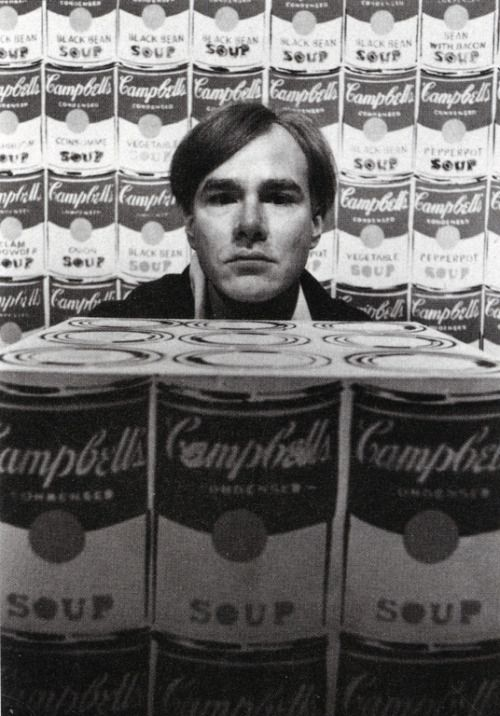 Andy Warhol with his inspiration for his infamous soup paintings  For all things Warhol visit ilovewarhol.com