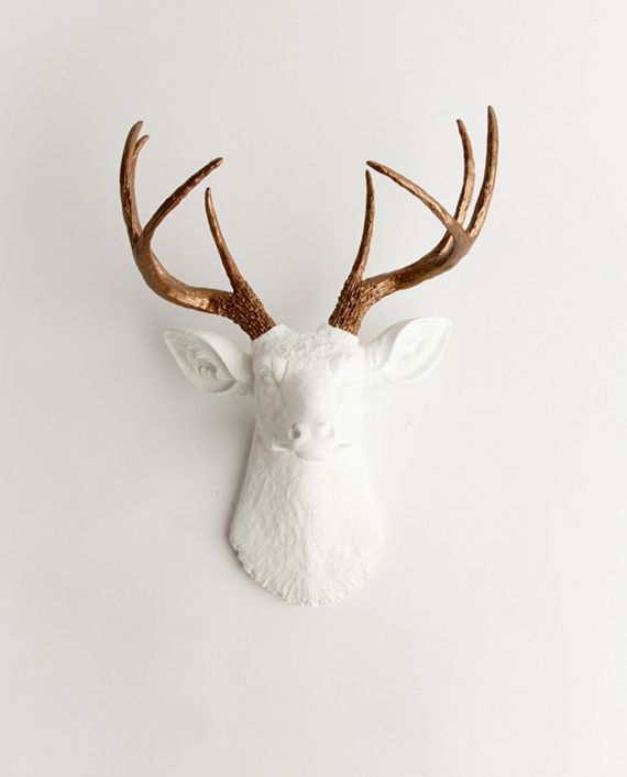 White Faux Taxidermy - The Lydia | Stag Deer Head | Faux Taxidermy | White w/ Bronze Antlers, $89.99 (http://www.whitefauxtaxidermy.com/the-lydia-stag-deer-head-faux-taxidermy-white-w-bronze-antlers/)