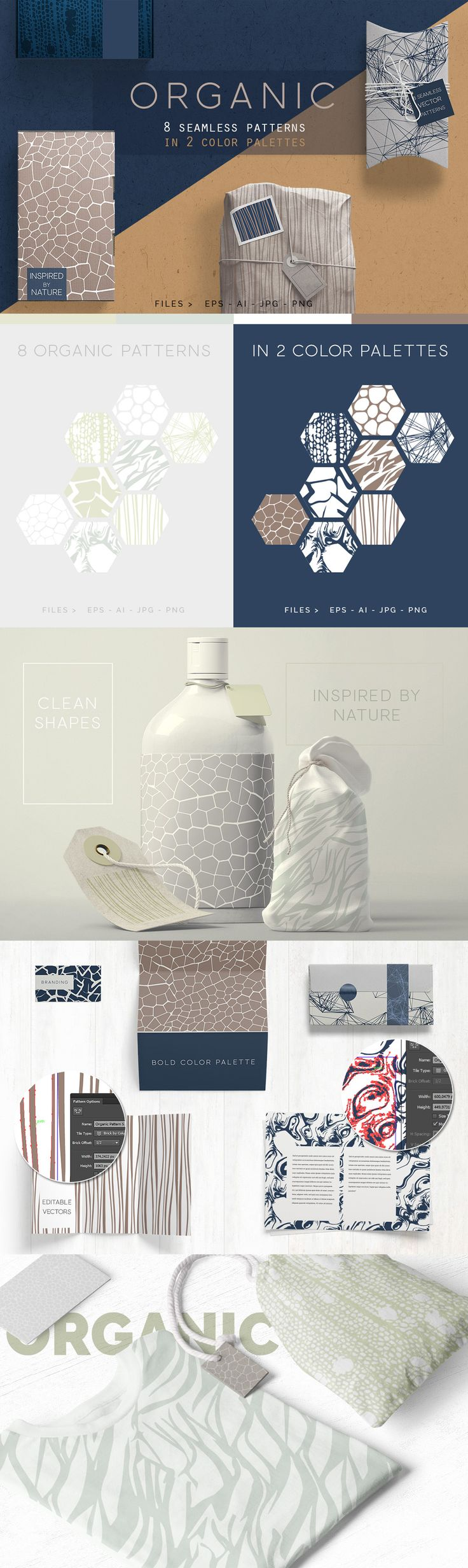 Organic Seamless vector Patterns. By @youandigraphics