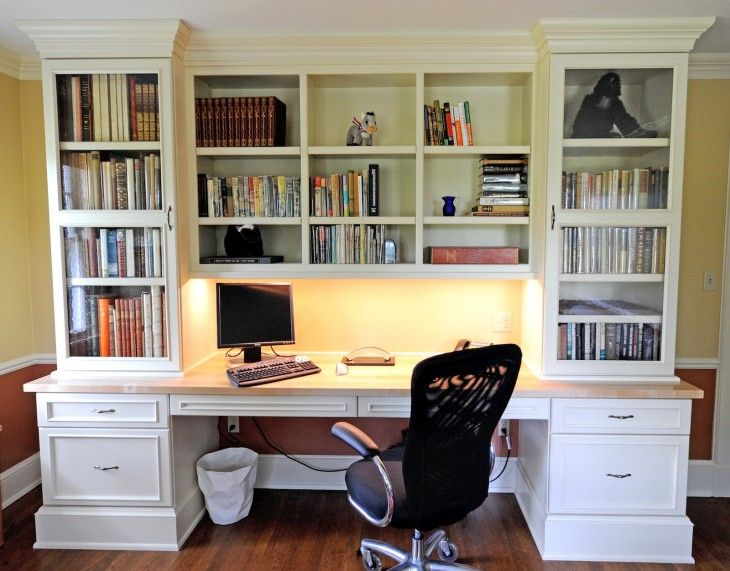 Astonishing White Custom Bookshelves With Desk And Drawers Cabinet Also Black Swivel Office Chair On Wood Floor Design Cool B