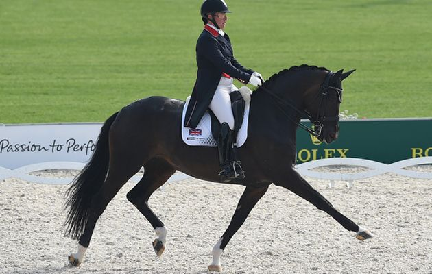 Fiona BIGWOOD (GBR) riding Atterupgaards Orthilia during the Grand Prix Team Competition at the FEI European Championships in Aachen, Germany on 12 August 2015