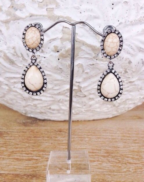 Glitzy Stone Earrings found at La Moda Boutique