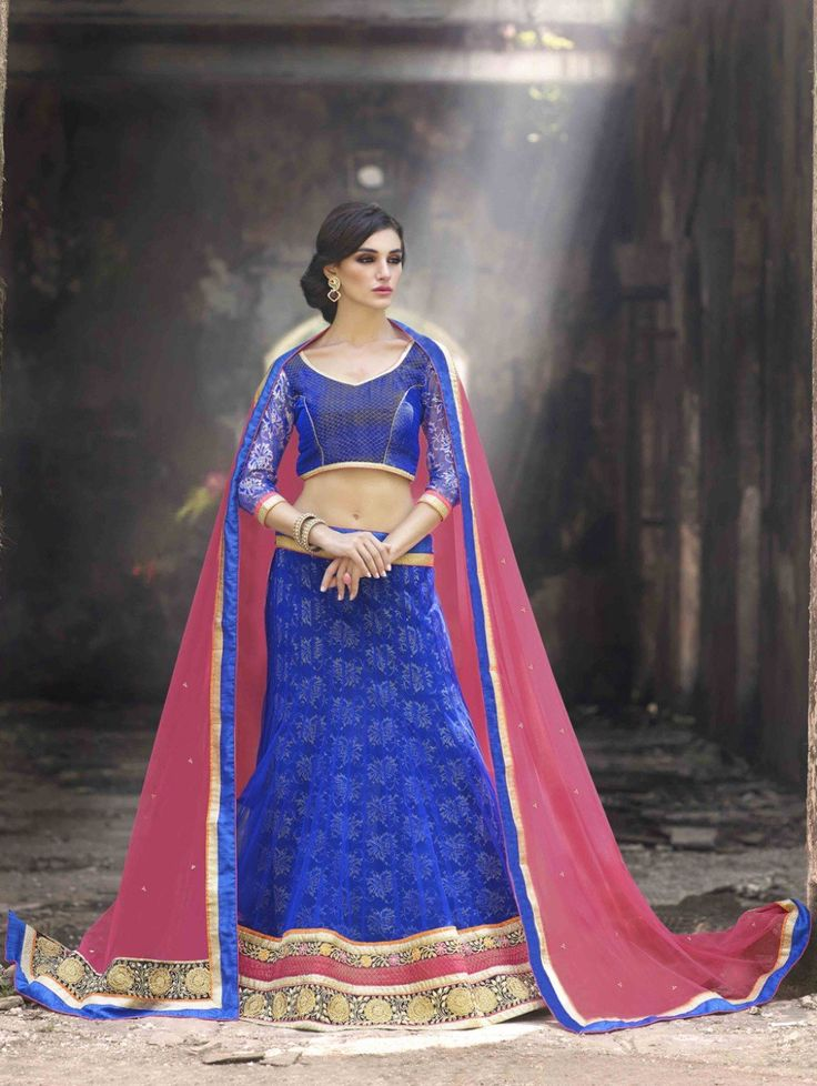 Blue Jacquard Net Lehenga Choli with Embroidery Work