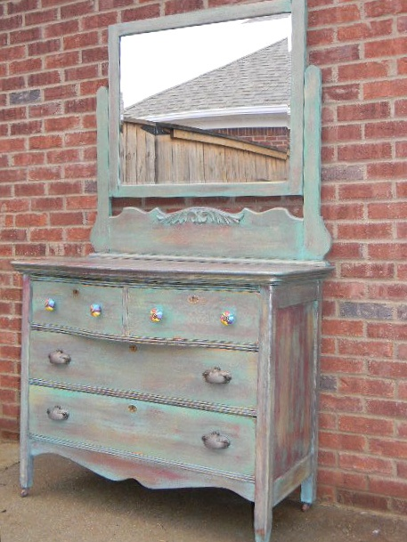 redone antique dresser... LOVE it, minus the colorful knobs on top - 29 Best Dressers Images On Pinterest Chest Of Drawers, Antique