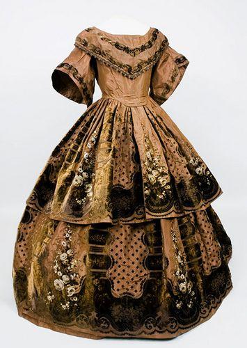 1850s Printed & Voided Velvet Gown by Sacheverelle, via Flickr