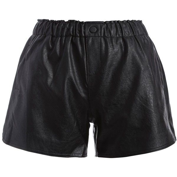 Plus Size Button Decorated Faux Leather Shorts ($19) ❤ liked on Polyvore featuring shorts, leather look shorts, faux-leather shorts, plus size faux leather shorts, embellished shorts and womens plus size shorts