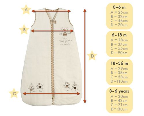 size chart baby sleeping bag