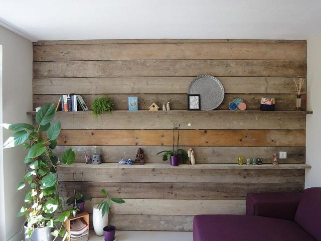 Steigerhout, ook mooi met steigerhout behang