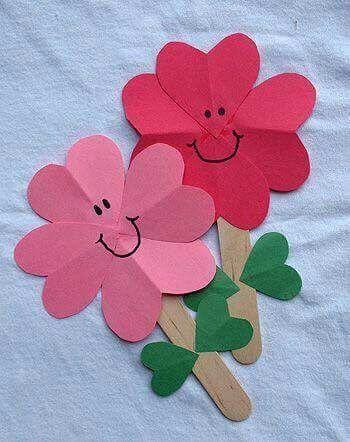 Valentine Heart flowers craft for kids