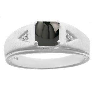 Men's Black Onyx 1/20 Carat Diamond Ring In Sterling Silver Jewelry - Gemologica, A Fine Online Jewelry Store