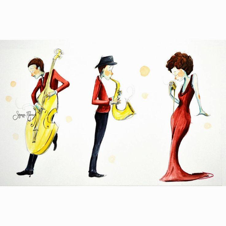 """""""O zaman müzik.. #illustration #watercolor #suluboya #illüstrasyon #sketchbook #doodle #ciziyorum #boyuyorum #sketching #colors #blue #jazz #caz #music…"""""""