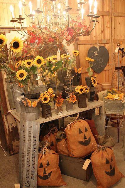pumpkins out of burlap bags...cute idea!