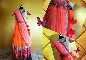 neon lehenga, orange lehenga ,Roli Gaur Vashisht