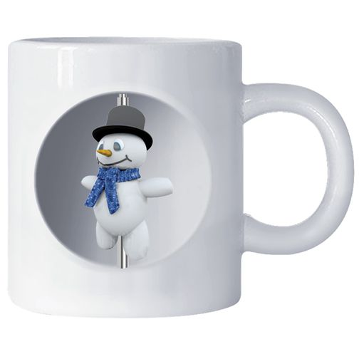 Unique and interesting 3D Snowman spins inside this custom mug to make it a promo that stands out from the rest | rushIMPRINT.com