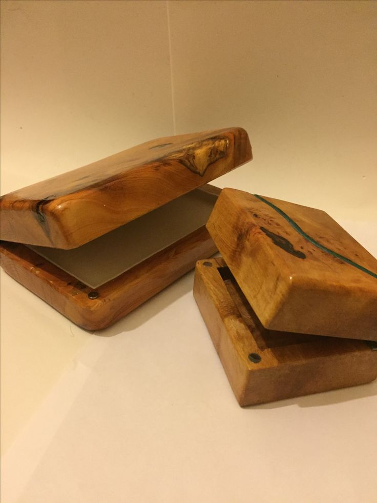 Fishing fly boxes in yew & alder.