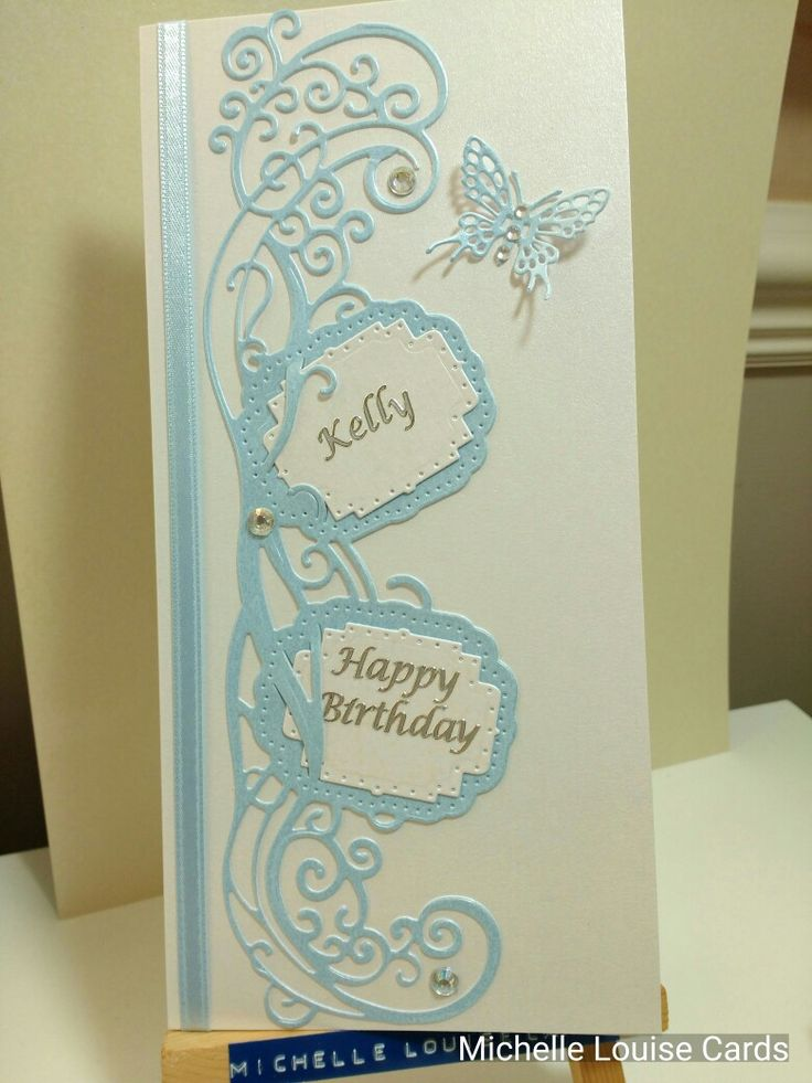 Tonic die ladies blue birthday card with butterfly