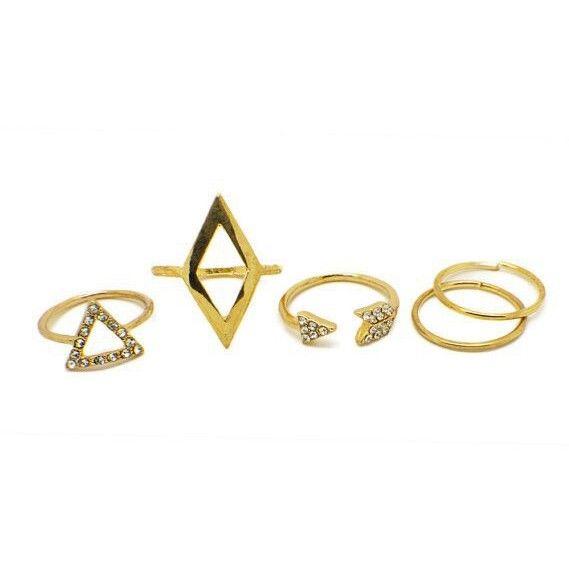 "Ringen set ""Gold Triangles"""