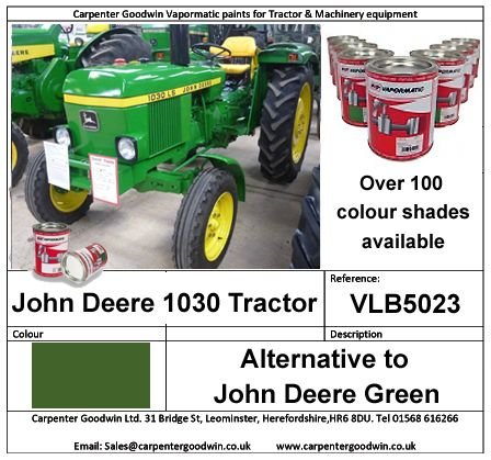 John Deere Green paint at www.carpentergoodwin.co.uk