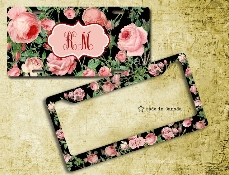 Pink Roses- License Plate, License Plate Frame, bike tag, bike license plate, monogrammed license plate, modern, Black, 30 by SaidTheOwl on Etsy https://www.etsy.com/listing/197095562/pink-roses-license-plate-license-plate