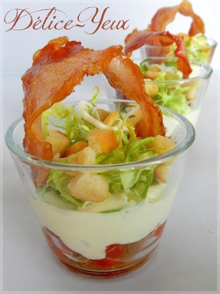 Verrines Tomates, Crème Basilic, Salade et Chips de Lard... - Délice-Yeux, l'univers gourmand de Marine