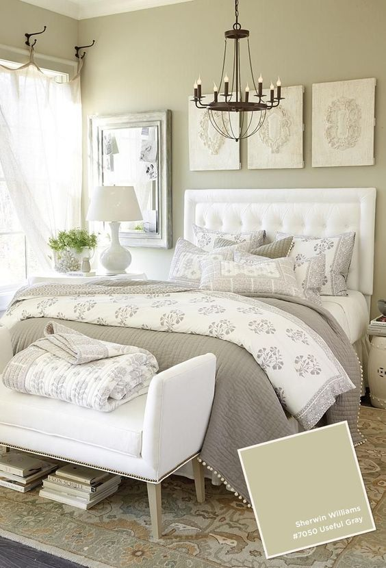 Beautiful white and gray bedroom ideas.  Love the iron accents!