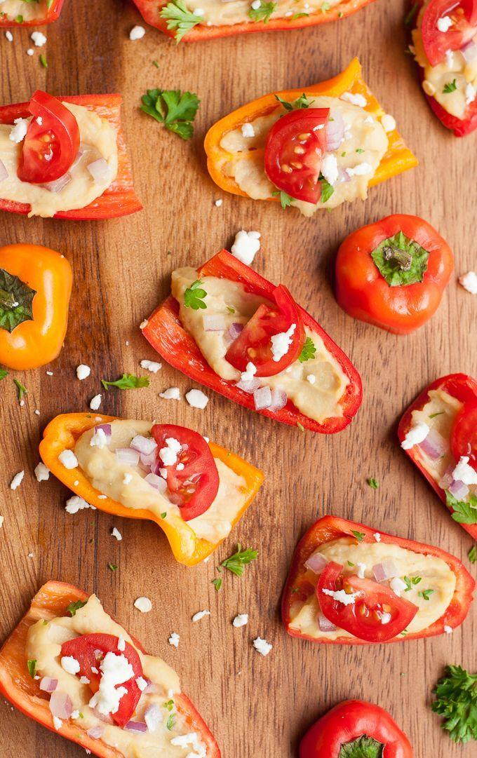 These healthy hummus stuffed mini peppers are so easy and super delicious! - loved this as a party snack