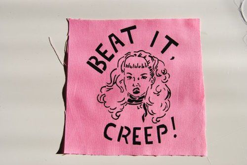 #feminism #patch Available at: http://www.etsy.com/listing/121471686/beat-it-creep-wanda-patch