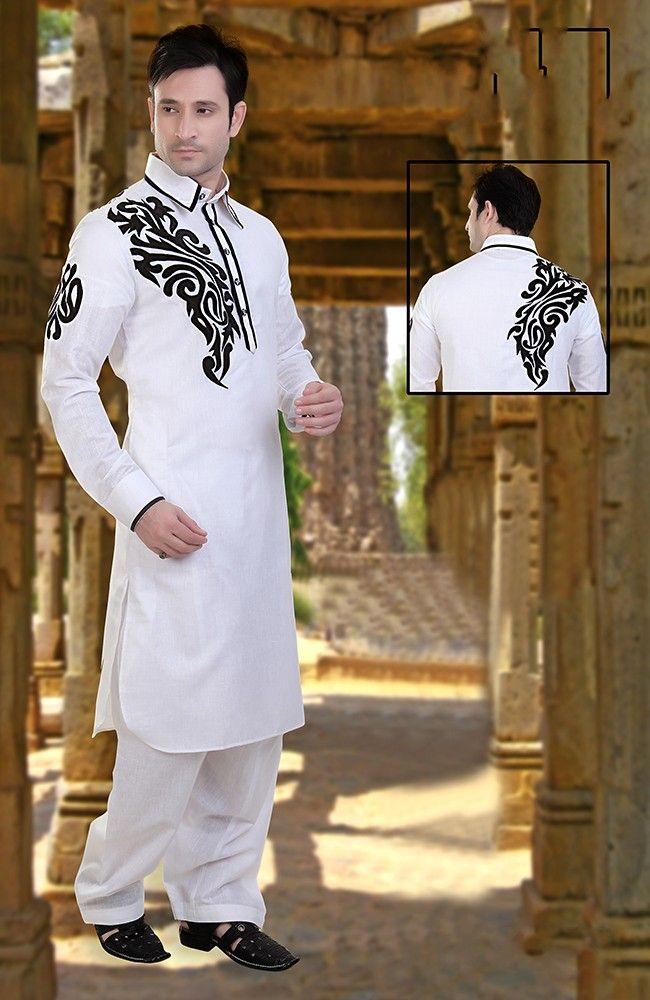 Impressive White Cotton Kurta Pyjama
