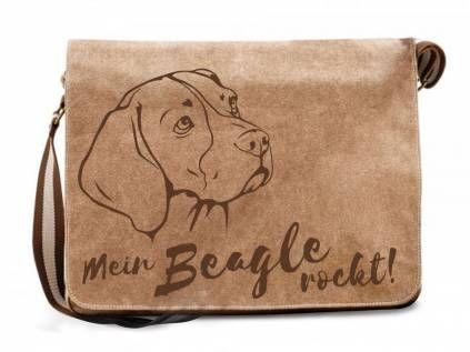 BaumwolltaschenCanvas Messenger Tasche: Beagle
