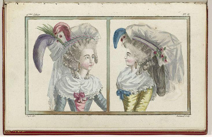 Cabinet des Modes ou les Modes Nouvelles, 1 Juillet 1786, pl. II, A.B. Duhamel, Pugin, Buisson, 1786
