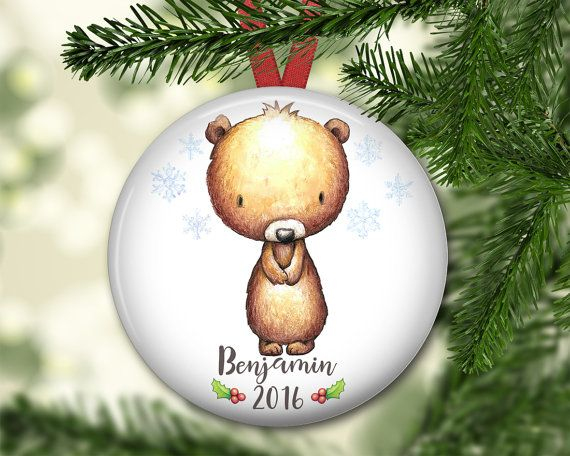 Cute bear personalized Christmas ornaments for kids, babies.